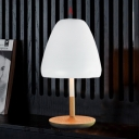 Wood Base and Soft White Metal Shade Mushroom Designer Table Lamps