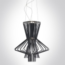Black Wrought Iron and Aluminum Cage Designer Large Pendant Lights