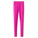 Candy Color Elastic Waist Plain Fitted Leggings