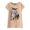 Fluffy Kitten Print T-Shirt