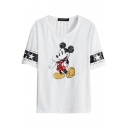 Micky Mouse&Star Print Short Sleeve T-Shirt