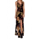 Sexy Sheer Mesh V-Neck Sleeveless Leaves&Flower Print Maxi Slim Dress