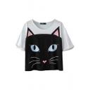 Cat Face Print Round Neck Short Sleeve Crop T-Shirt