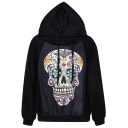 Cute Colorful Smiling Skull Print Black Hoodie