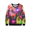 Colorful Fantastic Starry Sky Print Sweatshirt