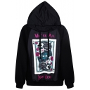 Poker Cat Print Loose Hoodie with Long Sleeve
