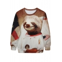 Astronaut Bear Print Brown Sweatshirt