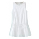 White Plain Split Back Gathered Waist Round Neck Rompers