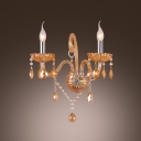 Sparkling Two-light Wall Sconce with Graceful Curving Arms and Gold Finish Offers Luxury Embelishment