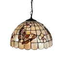Butterflies Patterned Dome Shell-made Shade Tiffany Single Light Mini Pendant