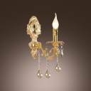 Regal Luxury European Style Gold Wall Sconce with Champagne Crystal Drops