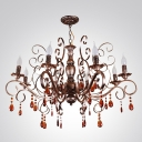 Bronze Finished Wrought Iron Charming Chandelier with Crystal Droplets