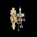 Glamourous Dazzling Gold Single Light Wall Sconce with Clear Lead Crystal