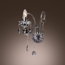Graceful Curving Arms and Single Candle-style Light Formed Impressive Crystal Wall Sconce