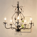 Rustic Iron Bronze Finished 5 Candle Lights Faceted Crystal  Beaded Chandelier