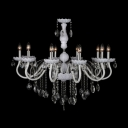 Soft and Chic White Glass Arms and Clear Crystal Beaded Chandelier