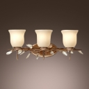 Warm Crystal Leaves Beautiful Complements White Glass and Brass Frame of  Elegant Wall Sconce