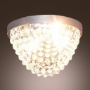 Lush Exquisite Flushmount Ceiling Light Features Stunning Strands of Crystal Hang From Circle Chrome Finish Canopy
