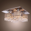 Stunning Semi Flush Ceiling Light Features Grand Faceted Crystal and Square Design