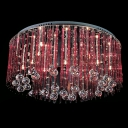 Gracefully Stainless Steel Round Canopy Hanging Clear Crystal Globes 19.6