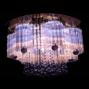 Warm Champagne Colored Crystal Droplets Clear Crystal Glass Rods Falling Flush Mount Light