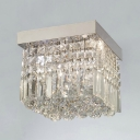 Lovely Cube Crystal Rain Flush Mount with Stainless Steel Chrome Finished Canopy
