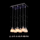 Gorgeous Multi-light Ceiling Light Features Beautiful Glass Shades and Dazzling Crystal Teardrops