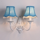 Gleaming Two Light Wall Sconce Completed with Beautiful Scrolling Arms in White Finish and Dazzling Crystal Beads