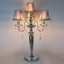 Sophisticated Three Light Table Lamp Adorned with Delicate Fabric Bell Shades and Decorative Crystal Beads