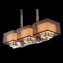 Splendid Three Light Pendant Light Adorned with Black Outer Shades and Clear Crystal Blocks Creating Welcomed Addition