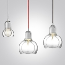 Designer Mini Bulb Pendant In Clear Glass