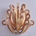 "Wooden Scrolls Designer Wall Lights in 19.6""Wide/11""Depth"