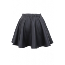 Plain PU Leather Mini Skirt with Elastic Waist
