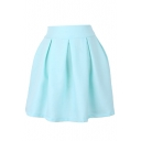 Bright Color High Waist Pleated Mini Skirt