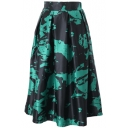 Fashionable Print Elastic Waist Pleated Midi Skirt
