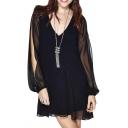 V-Back T-Crochet Detail Split Sleeve Double Layer Tunic Dress