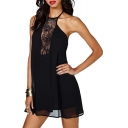 Halter Front Lace Insert Black Double Layer Dress