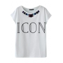 Fashionable Sequins Embellished Icon Letter T-Shirt