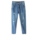 Fashionable Worn-out Style Water Wash Denim Pants