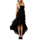 Sweetheart Neck Asymmetric Hem Tiered Ruffle Black Chiffon Dress