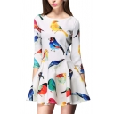 Colorful Birds Print 3/4 Sleeve Round Neck A-line Dress