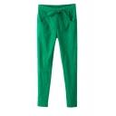 Plain Elastic Drawstring Waist Cotton&Linen Pants