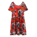 Red Floral Print Round Neck Short Sleeve Dress