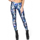 Cartoon Tie Dye Graffiti Elastic Waist Skinny Leggings