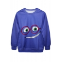 Blue Background Cartoon Character Wearing Glasses Print Sweatshirt