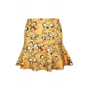 All Over Cartoon Character Print Yellow A-line Skirt