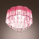Charming Crystal Flush Mount Ceiling Light Fixture Adorned with Romantic Pink Flower Enclosure