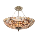 Beige Floral/Butterfly Motif Circular Grid Bowl Shade Tiffany Pendant Light 19.69