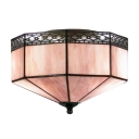 Purple Glass Shade Two Lights Flush Mount Ceiling Light in Tiffany Style