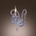 Romantic Blue Crystal Arms and Drops Add Charm to Glittering Single Candle Light Wall Sconce